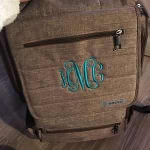 Monogrammed backpack laptop